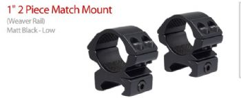 Hawke Match 1 inch 25mm LOW Weaver-Picatinny 20mm Base Scope Mount Rings - 22112